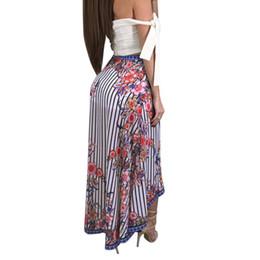 aa3f6f307ad High split print long skirt women Summer Behemian style floral maxi skirt  female 2018 Ruffle Streetwear casual beach boho