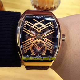 Skeleton watcheS leather Strap online shopping - Luxry VANGUARD NEW SARATOGE V T SQT Rose Gold Skeleton Dial Automatic Mechanical Mens Watch Rose Gold Case Leather Strap Gents Watches