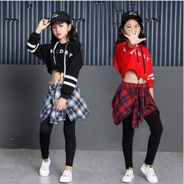 Girls Child Modern Dance costumes Barllroom dancing clothing Tops+Pants Kids  Jazz Hip Hop stagewear Party dancewear Outfits f5ccf7562db