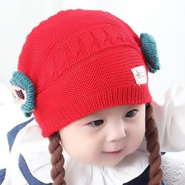 22bc1c718b5 Cute Baby Wig Hats Bow-knot Children s Knitted Braids Hat For 3 to 18  Months Baby Girls Infant Caps Winter Autumn Head Supplies