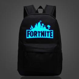Vente en gros Fornite Night Light Fashion Sacs à dos Cool School Bag pour les jeunes hommes et femmes Campus Adolescent Impression école Bagpack Y1890401