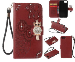 Plus Owl Case NZ - Creative Crystal owl embossed leather case Wallet Card Pocket Phone Case Knitted rope Cover For Samsung for iphone 5 6 7 8 plus X