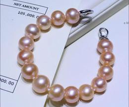"Pearl Channel Australia - HUGE NEW AAA 10-11mm elegant round south sea pink purple pearl bracelet 7.5-8"""