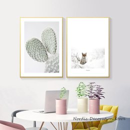 Unframed Canvas Prints Australia - Nordic Green Cactus Cute Fox Animal White Snow Posters And Prints Wall Art Canvas Painting Canvas Art Wall Pictures Unframed
