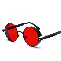 c0774c9db8 Gothic Steampunk Round Metal Sunglasses for Men Women Mirrored Circle Sun  glasses Brand Designer Retro Vintage Shades UV400