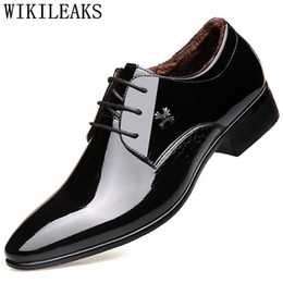 Short Formal Wedding Dress NZ - formal men shoes zapatos hombre sapato masculino dress wedding shoes short plush patent leather men oxford for