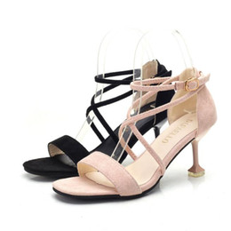 d83b434069a Sandals female 2018 summer new cross straps high heels square head buckle  fine with glass with women sandals