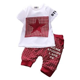 Branded Baby Kids Clothes Australia - Baby Boy Clothes 2016 Brand Summer Kids Clothes Sets T-shirt+pants Suit Clothing Set Star Printed Clothes Newborn Sport Suits