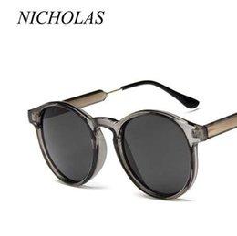 Toptan satış NICHOLAS Retro Yuvarlak Güneş Gözlüğü Kadın Erkek Marka Tasarım Şeffaf Kadın Güneş gözlükleri Erkekler Oculos De Sol Feminino Lunette ...