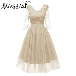 wedding dress midi 2019 - Miessial Women dress Formal Lace Dress Prom Flower embroidery Party Wedding Gown half Sleeve Midi Dresses appliques V-ne