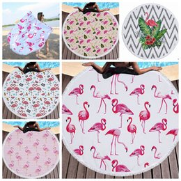 design tablecloths wholesale Canada - Flamingo Printed Tapestry Round Tassel Beach Towel Women Shawl Tablecloth Picnic Rugs Yoga Mat 5 Designs 1pcs YW426