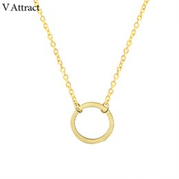 $enCountryForm.capitalKeyWord Canada - V Attract 2018 Vintage Charm Round Choker Collier Femme Stainless Steel Long Chain Circle Necklace Pendant Women Body Jewelry