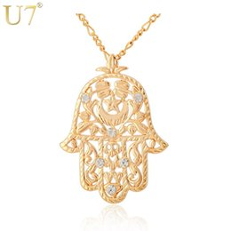 Chinese  U7 Big Hamsa Hand Pendant Women  Men Lucky Jewelry Gift Trendy Gold Color Rhinestone Hand Of Fatima Pendant Necklaces P313 manufacturers