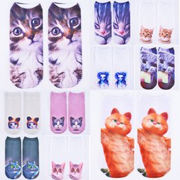 3d animal socks Australia - Wholesale free shipping 3D Harajuku Style Digital Printing Cat Casual Socks Unisex Low Cut Ankle Socks
