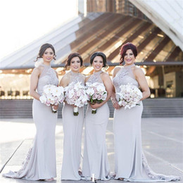 long bridesmaid dresses sheer back NZ - Sheer Halter Neckline Grey Sexy Mermaid Bridesmaid Dress Lower Back with Lace Back Train Long Wedding Party Dress