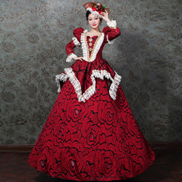 8e22609bc4445 100%real masquerade red vintage rose jacquard court medieval dress  renaissance Gown queen Victorian Marie cosplay Ball drama ball gown