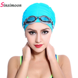 women hairs NZ - 2017 New Summer Women Sports Swim Hat Fold Swimming Cap Quick Dry Swimming Hats for Draped Strentch Long Hair free shipping