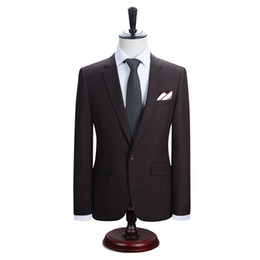 men s long wedding suit NZ - 2019 New Arrival Men Suits Dark Brown Long Sleeve One Button 2 Pieces Wedding Suit for Evening Party Groom Tuxedo Custom Made