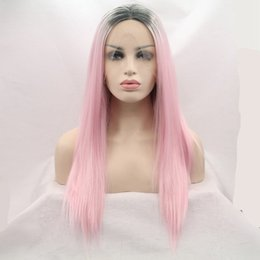$enCountryForm.capitalKeyWord Australia - Black Ombre Pink Silky Straight Synthetic Lace Front Wig Heat Resistant Synthetic Hair Replacement Wigs Middle Part for Black Women
