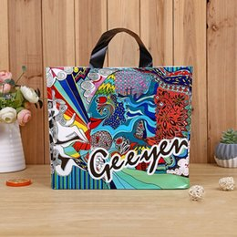 83b84ab25eaf 50pcs National Wind Printed Hand Plastic Bags Abstract Design Shopping  Pouch Fashionable and Exquisite Garment PE Bag Free Shipping