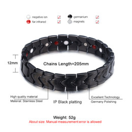 China Black Healthy Energy Bracelet Men Punk Chain Link Bracelets Jewelry Stainless Steel Magnet Charm Bracelets for Men Jewelry Wholesale cheap jewelry magnet clasps wholesale suppliers