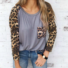 d06de9e78c16a Fashion Lady 2018 Women T Shirts Patchwork Printed Leopard Tops Basic Tee  Pocket Spring Autumn TShirts Casual O-neck Femme M0254