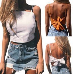 a180e5481c82fd 2017 Sexy Lady Tanks Fashion Womens Caged Back Cut Out Solid Tanks Female  Strappy Padded Short Camis Womens Bowknot Crop Tops