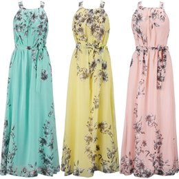 635f6df595 2018 Summer Women Dress Chiffon Floral Print Halter Tunic Sleeveless  Pleated Long Maxi Party Boho Dresses With Belt 3 Colour Select