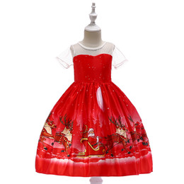 flower girls short lace dresses UK - Cartoon Christmas dress Santa Claus Snowflake print flower girls' dresses Lace patchwork dress High quality Red 045 Style