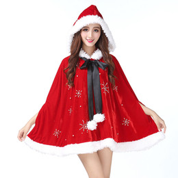 Santa Women Costume NZ - Christmas Cape Red Fantasy Santa Claus For Women Party Short Cloak Hooded Holiday Gown Shawl Cosplay Costume