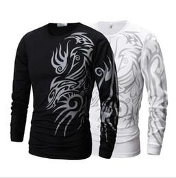 Discount long sleeve tattoo print tops - men long sleeve T shirt Dragon Tattoo Printing Round Neck T-shirt Slim Fit Leisure Top for Men shirt KKA4228