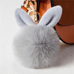 Artificial Chains Wholesalers Australia - New Big Bunny Rabbit Ears Fur Pompom Keychain Fluffy Faux Leather Ball HandBag Pendant Artificial Pom Pom Key Chain Porte Clef
