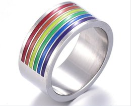Discount gay wedding wholesale - 50pcs 10mm Rainbow Ring for Gay Finger Ring Jewellry Stainless Steel Ring Rainbow Gay Pride Jewelry R212