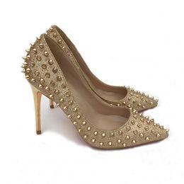 China {Original Logo} Fashion Rivets Luxury Designer Red Bottom Bottoms High Heels Heel Black Silver Wedding Pumps Dress Women Womens Shoes suppliers