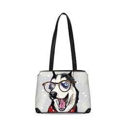 a1a754964d9f Cute Husky Designer Women Sling Shoulder Bags Cartoon Dog Custom Ladies  Bucket Leather Handbag Girls Tote School Bookbags 2018