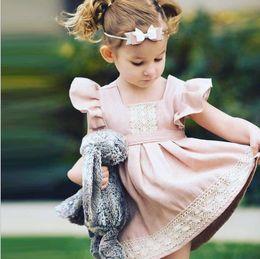 Discount bohemian skirt wholesale - New summer girls lovely lotus pink dress children's Princess spliced lace flying sleeve skirt kids princess dresses