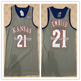 1d18253db95  21 JOEL EMBIID Kansas Jayhawks white BULE GREY Basketball Jersey  Embroidery Stitched Custom Any Name and Number