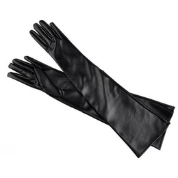 $enCountryForm.capitalKeyWord UK - Artificial Leather Elbow Women Glove Black Red Color Thin Style Warm Fashion Gloves For Outdoor Street Pat 10cz ff