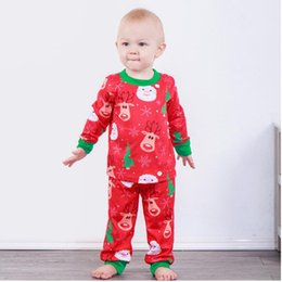 deer santa suit NZ - Boy Girl Santa Clause Head Milu Deer Printed Long Sleeve Set Baby Christmas Spring and Autumn Round Neck Suit Two Pieces Kid Cartoon Clothes