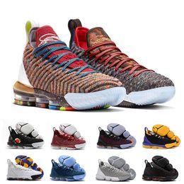 f44b3bf534a Rainbow 1 THRU 5 CNY lebron 16 Black white gold men Basketball Shoes lebrons  16s james white mens trainer sports designer Sneakers 40-46