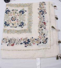 Cotton Bandana Scarves Australia - 2017 Women Summer Autumn Floral Bandana Scarf Hijab Floulard Shawl Scarves Cotton Beach Blanket Bufandas Fringe Tassel S249