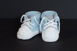$enCountryForm.capitalKeyWord Australia - Baby Boys First Walkers Handmade Crochet Sports Tennis shoes Infant Toddler Knitted Sneakers Newborn Crib Booties Baby boy Shoes