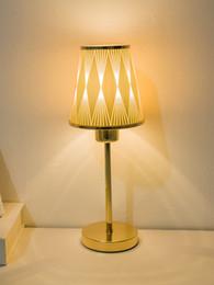 $enCountryForm.capitalKeyWord UK - Wholesale Fashion Europe Gold Curtain Lampshade LED Table Lamps Metal Base Night Lights Lamp Beside Lighting Birthday Gifts Free Shipping