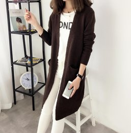 Pocket edition online shopping - Korean Edition Medium Length Women Sweaters Pure Color Knitted Women Cardigan Fashion Cardigan Loose Designer Sweater