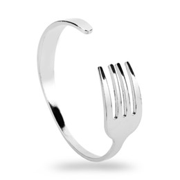$enCountryForm.capitalKeyWord UK - MQCHUN Creative Design Fashion Knife Fork Cuff Bangle Silver Open Bracelets & Bangles for Men Women Hip Hop Jewelry Adjustable