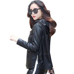 48cc6cc2173 plus size autumn Winter Women Faux Leather Clothing Hooded Slim Female  short Jacket femela leather Zipper Coat outerwear QH0686