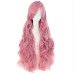 "Chinese  "" Long Wavy Cosplay Wigs Fake Bangs 21 Colors Pink Black Blue Brown Blonde Women Wig Heat Resistant Synthetic Hair manufacturers"