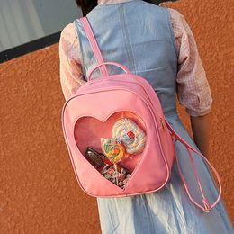 Brand Designer Backpacks Women Candy Transparent Love Heart School Bag  Children Harajuku Casual Book Bag Teenager Girl Ita Bag 28cd0c5caf05