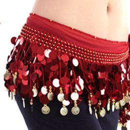 $enCountryForm.capitalKeyWord Australia - New Fashion Multi Color Chiffon Belly Dance skirt Hip Wrap Scarf Coin Sequin Waistband Skirt Coins bellydance costume belt