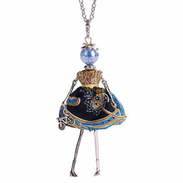 China whole saleYLWHJJ brand new girl blue doll pendant long necklace dress female alloy fashion handmade maxi jewelry for women collier femme cheap girl doll necklaces suppliers